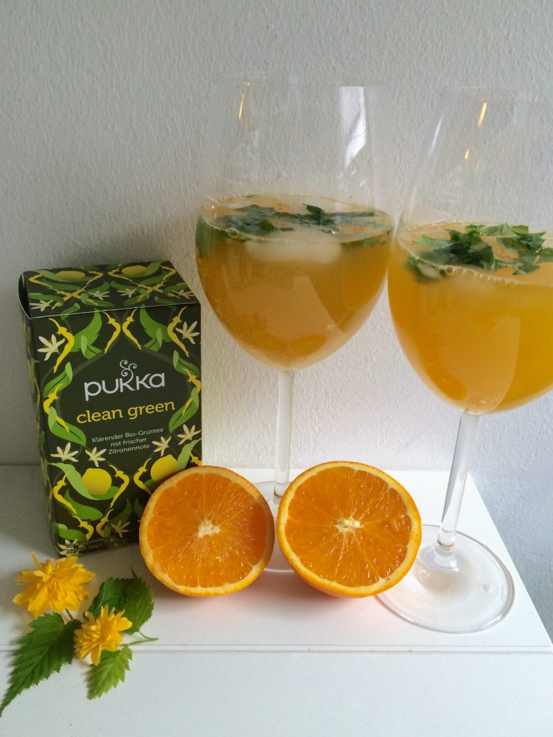Basilikum Orangen Eistee